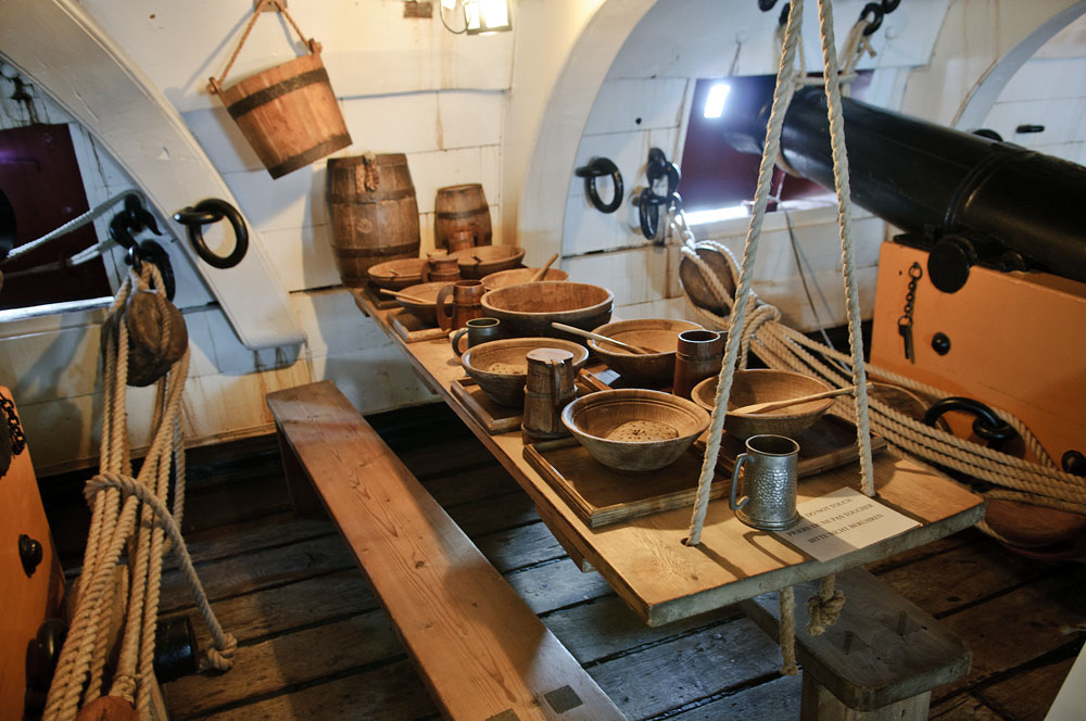 table on a gun deck